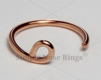 "10kt Solid Gold Fake Lip Ring Hoop, Fake Lip Cuff, Faux Lip Ring 8mm 5/16"" or 10mm 3/16"", Yellow, White or Rose Gold, 1 piece"