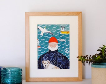 A5 Giclee print: Sea Dog Illustration