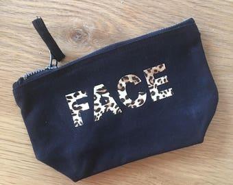 quote makeup bag, cosmetic bag, toiletry bag, gift, animal print, custom makeup bag, leopard print, makeup bag, leopard print bag, animal