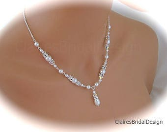 Bridal Pearl Necklace Wedding Jewelry for Brides Pearl and Crystal Necklace