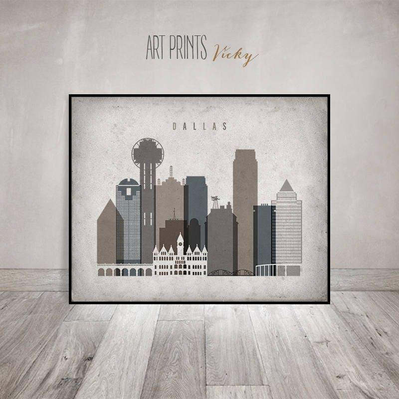 Dallas print, Dallas Poster, Dallas Wall art, Dallas skyline, Texas ...
