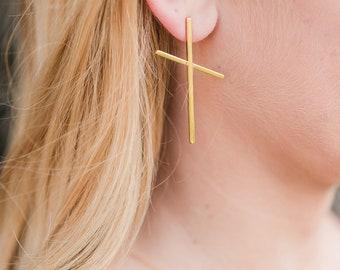 Gold Cross Earring  // Cross Stud Earring // Christian Cross // Modern Cross Earrings // Gold Cross Earring // Cross Jewelry // Nickel Free