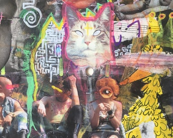 NOWHERE FAST mixed media collage on vinyl record abstract punk rock goner painting art lowbrow outsider graffiti cat