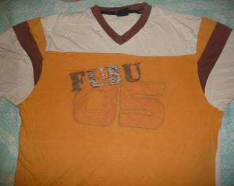FUBU jersey, brown vintage Fubu t-shirt of 90s hip-hop clothing, 1990s hip hop shirt, cotton, old school, OG, gangsta rap, size XL