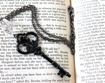 Large Black Skeleton Key & Faceted Quartz Necklace - Statement Piece Goth Witchy Jewelry