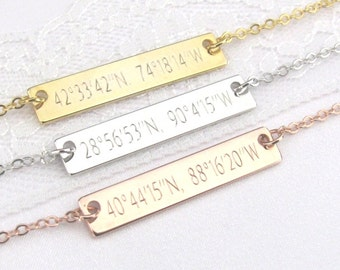 Coordinate Necklace in Gold, Silver or Rose Gold Engraved with Latitude and Longitude Coordinates