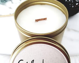 Travel Tin Candle - Coconut Wax - Beeswax - Soy Wax Blend - Gold - 6 oz. - Crackling Wood Wick - Birthday Favor - Wedding Favor