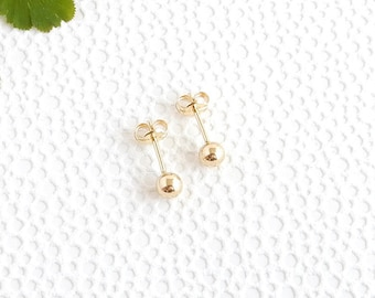 Small 14K yellow gold ball stud | 4mm simple small post earrings