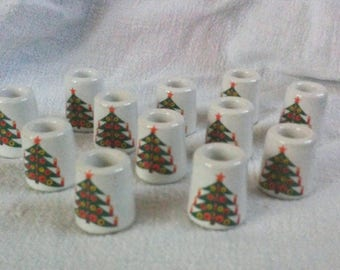 Vintage Set of 12 Small Christmas Holiday Candle Holders