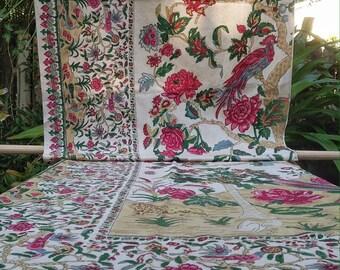 Antique Indian Raj Cotton Block Print Portiere Panel Tree-of-Life Exotic Birds Kangaroo Lion Peacock Palm Papaya Vines Blossoms Palampore