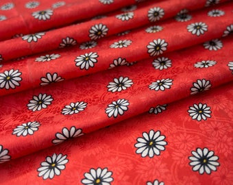 White Daisies on Vibrant Red  // Vintage Japanese Kimono Fabric