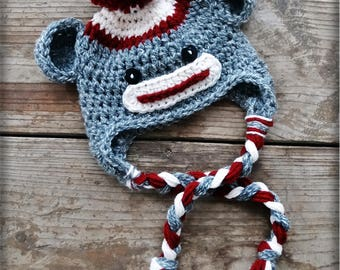 Crochet Pattern Sock Monkey hat by AngelsChest - Includes Instructions for ALL sizes Newborn to Adult - Pattern No. 10