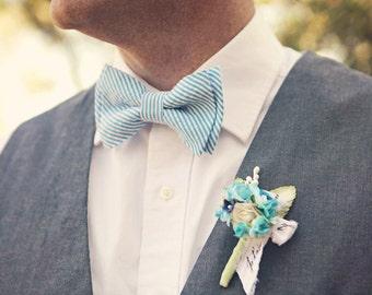 Bow Tie, Mens Bow Tie, Bowtie, Bowties, Bow Ties, Bowties, Floral Bow Tie, Groomsmen Bow Ties - Stripe Seersucker Collection (13 shades)