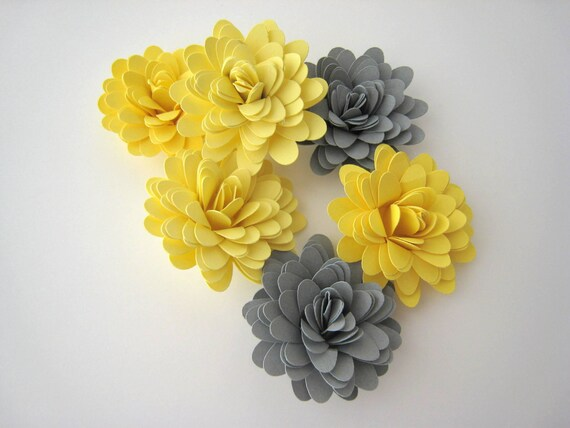 Items similar to yellow and grey paper flowers wedding decorations items similar to yellow and grey paper flowers wedding decorations table decor handmade qty 30 on etsy mightylinksfo