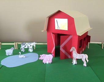 3D Paper Barn Craft: Instant Download