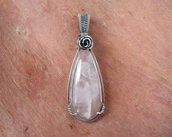 Rose Quartz Pendant ~ Handcrafted with Eco-Recycled Sterling Silver ~ Hand-cut Natural Pink Gemstone ~ Magickal Self Love Crystal Talisman