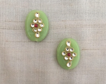 Mint Green Glass Buttons Beads,Indian Oval Kundan Button Rajasthan Traditional Handmade Button,Sewing Jewellery Flat Back Bead,2X2.5cm,2 pcs