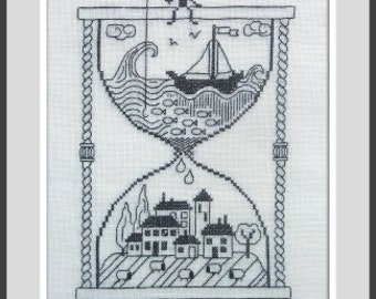 Taking Time Out (Prendre le Temps) – counted cross stitch chart. Monochrome design using black thread. Blackwork. French instructions.