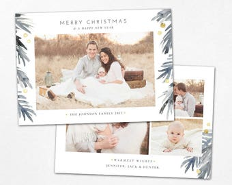 Christmas Card Template - Watercolor Merry Christmas Holiday Horizontal Photo Card - Photoshop template 5x7 flat card - CC149