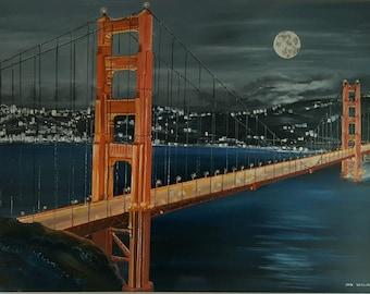 Moonlight on The Golden Gate, San Francisco Oil, Golden Gate Bridge, 52x36 in, San Francisco Night, Original Oil, Dan Leasure Oils