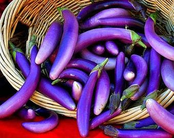 Purple Japanese Eggplant, 20 seeds, slender tender Asian heirloom, Kurume, delicate flavor, vivid purple fruits, stir fry, tender and sweet
