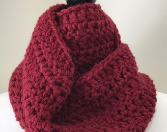 chunky cowl || circle scarf || the Roland shown in cranberry