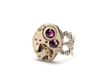 FEBRUARY Steampunk Ring, AMETHYST SILVER Steampunk Watch Ring Birthstone Ring Sterling Silver Steampunk Jewelry By Victorian Curiosities