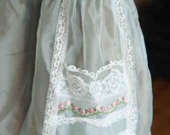 Vintage Apron - Sheer Organdy Light Blue Lace