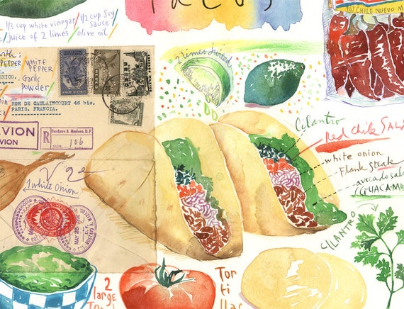 Taco recipe print mexican taco illustration mexico taco recipe print mexican taco illustration mexico watercolor print food painting latin american poster home decor kitchen wall art forumfinder Image collections