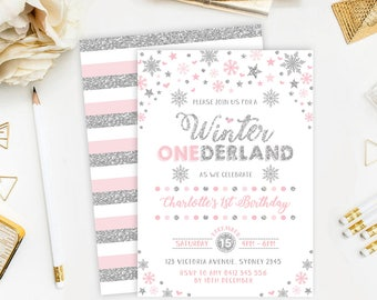 Silver and Pink Winter ONEderland First Birthday Invitation. Snowflake Girls Party Invitation. Winter Birthday Invite. Silver Stars. WINT14