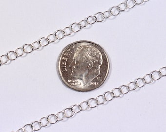 4mm Circle Link Chain - Sterling Silver - SS9-28 - Made in USA