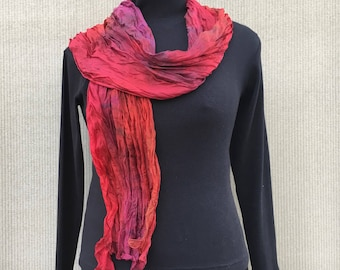 """Crinkle Silk Scarf Shawl #306 ~ Red Burgundy Scarf ~ Hand Dyed OOAK Scarf ~ Year Round Scarf ~ Gift for Her ~ 21"""" x 70"""" inches ~ nice!"""