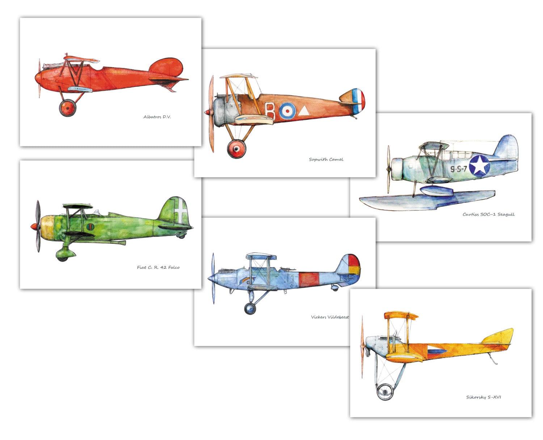 Flugzeug-Dekor-Kinderzimmer-Vintage-Flugzeug Kunstdrucke