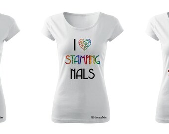 T-shirt - HOLO Rainbow - perfect fpr every Stampaholic - white tee - nail stamping plates (B. Loves Plates )