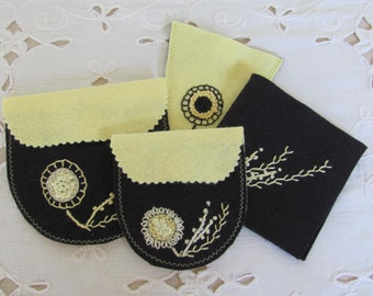 sewing and craft room organizer, yellow and black needle book, handbag and travel accessory, gift for hand sewer