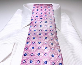 Silk Tie in Floral with Tickled Pink Navy and White