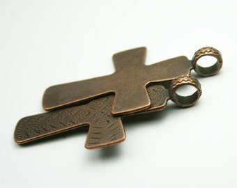 1 Cross Charm Pendant Antique Copper 48x29mm  -  cg129