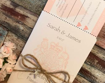 Passport & Boarding Pass Wedding Invitations in Linen Card
