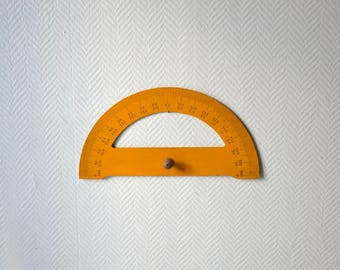 Mid century french classroom protractor / Vintage Solid wood protractor / Angle measuring tool with handle / Wooden protractor