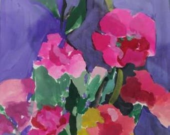 watercolor , gouache , water painting , pink , carnation , still life , hand painted, gift , 4 x 6 inches, impressionism, purple , birthday