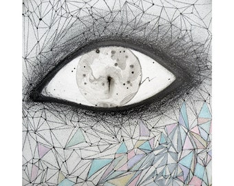 Eye original ink bubble painting