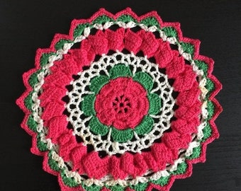 "Shop SALE Vintage Crocheted Hot Pad, Hot Pink Green 6.5"" Round Hand Made, Retro Mid Century Kitchenware"