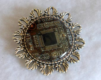 Steampunk Style Circuit Board Brooch SP28