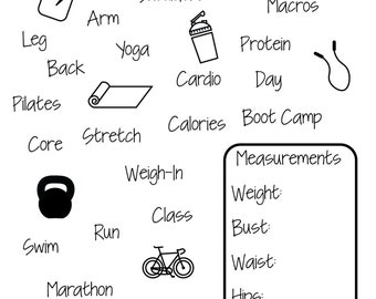 Get Fit - photopolymer clear stamps - planner stamps - exercise - workout