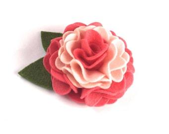 Coral Pink Felt Dog Collar Flower