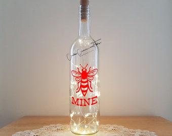 Lit Bottle Kit - Bee Mine, Bottle Lamp, Wine Bottle Light, Bottle Light, Table Decor, Unusual Gift, Bottle, Craft Kit, Crafty Creases