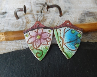 """Bohemian charms enameled copper, enameled charms, """"flower and Butterfly"""" cooper, green, blue, pink, handmade."""