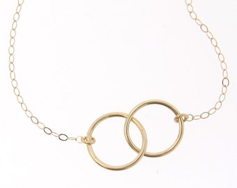 Interlocking Circles Necklace - Small 9mm 14K Yellow, White Gold, or TWO Tone