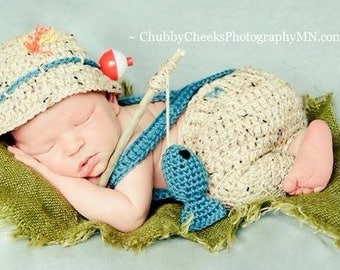 Newborn Baby Fishing Outfit, 5 pc set, Shorts/Pants, Boots/Waders, Hat & Fish, Newborn, 0-3M, Photography Prop - MADE TO ORDER