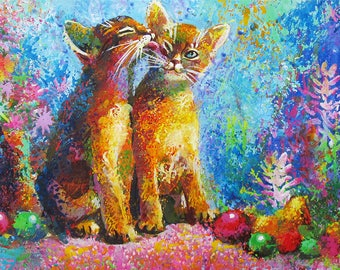 Custom Portraits Stylish Made to order Cat gift for Kids Animal painting Cat custom portrait art Original painting Colorful painting Pets